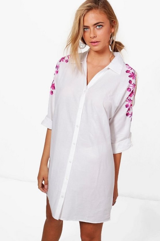 Womens White Maisy Cold Shoulder Embroidered Shirt Dress