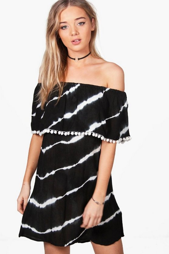 Maisie Off Shoulder Frill Tie Dye Shift Dress