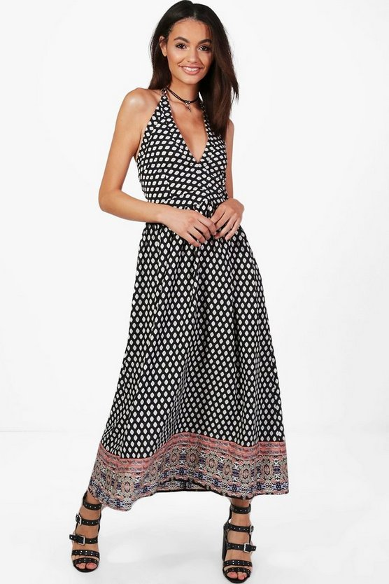 Jaclyn Halterneck Printed Maxi Dress