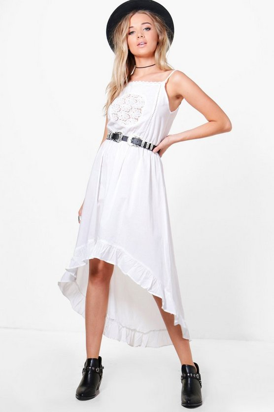 Boutique Tyra Crochet Lace Boho Midi Dress