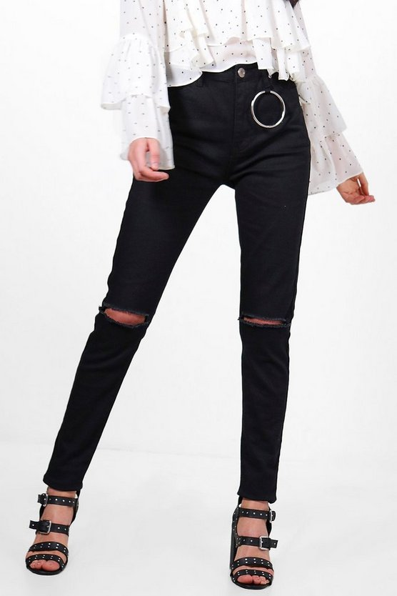 Katie High Waist Ring Detail Skinny Jeans