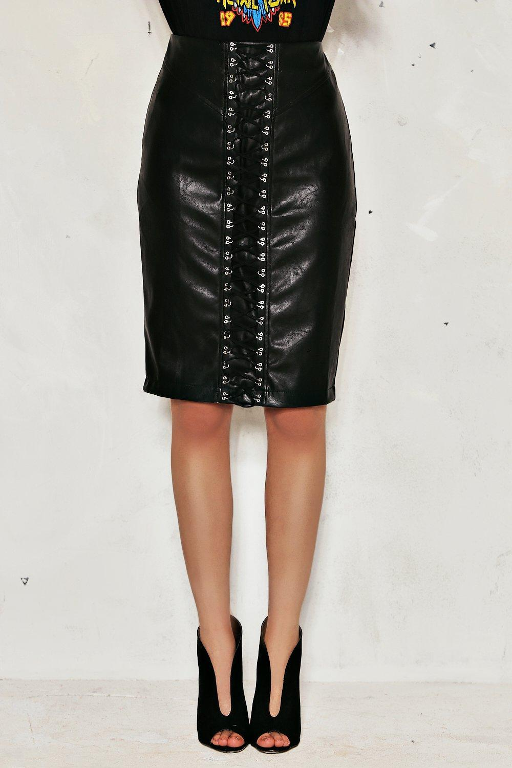 2246d31ee Jessica Lace-Up Faux Leather Skirt | Shop Clothes at Nasty Gal!