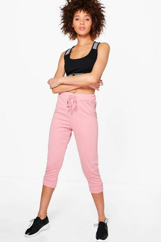 Womens Pink Rose Fit Crop Running Joggers
