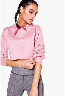 Womens Pink Violet Fit Hooded Crop Running Sweat