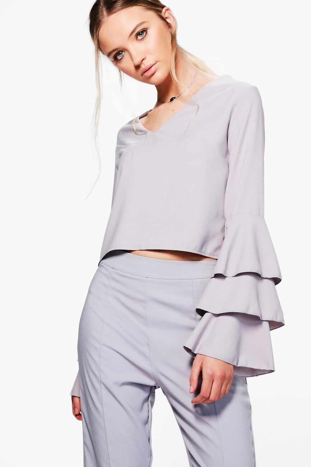 Boohoo-Vanessa-Top-Tisse-A-Manches-Volantees-pour-Femme
