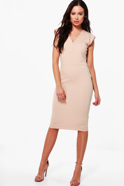 Hannah Tailored Fitted Midi Dress at boohoo.com
