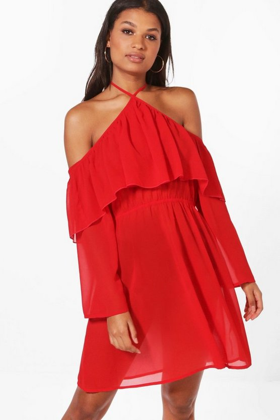 Hol Extreme Cold Shoulder Georgette Dress