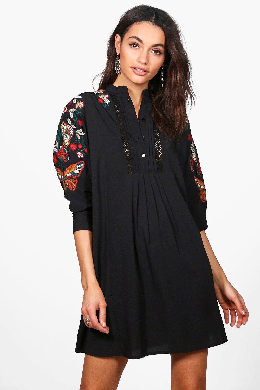 8cb13adaca7 Boutique robe chemise brodée à manches chauve-souris