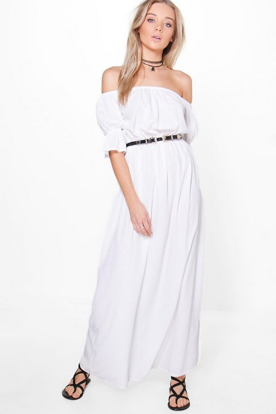 Loren Off Shoulder Frill Sleeve Maxi Dress