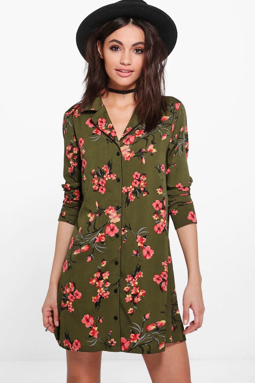 cc3a33874a6 Sophia Oriental Floral Print Shirt Dress