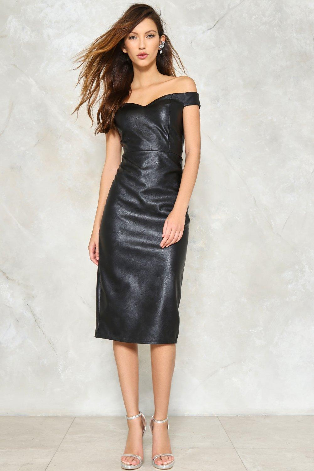 79f1297c65 Hot Date Off-the-Shoulder Faux Leather Dress | Shop Clothes at Nasty ...