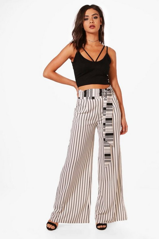 Loni Tie Waist Woven Wide Leg Striped Trousers
