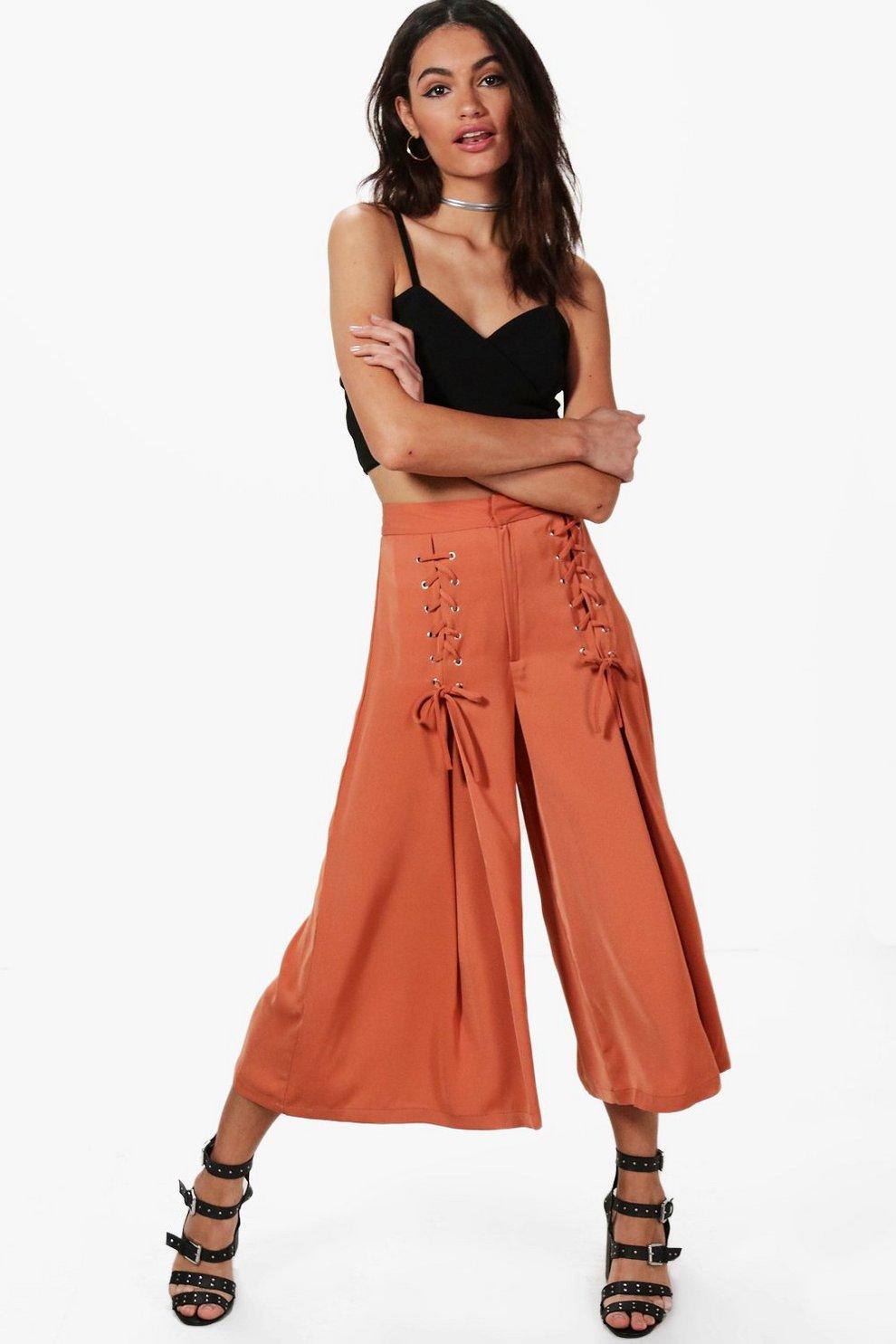 16441d00342a93 Rowen Lace Up Wide Leg Woven Culottes