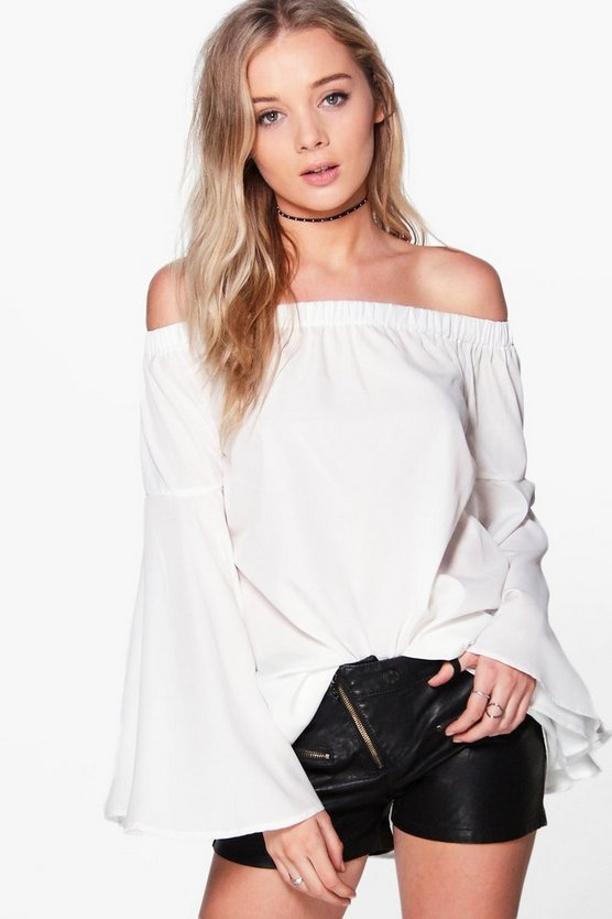 Womens Ivory Mia Woven Extreme Frill Sleeve Off The Shoulder Top