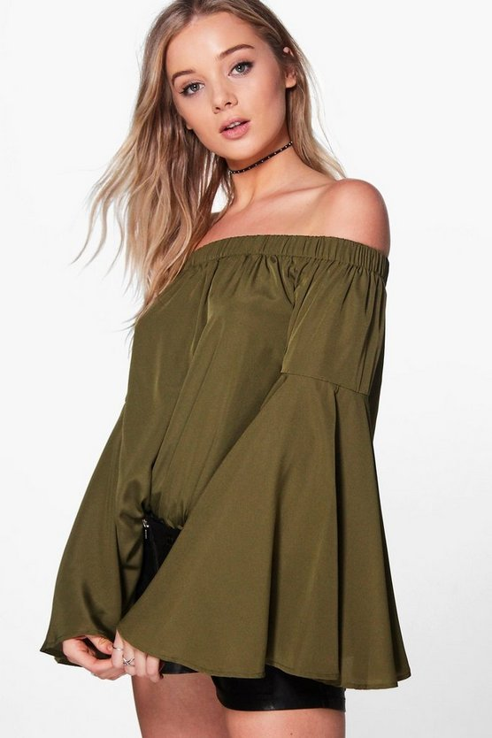 Mia Woven Extreme Frill Sleeve Off The Shoulder Top