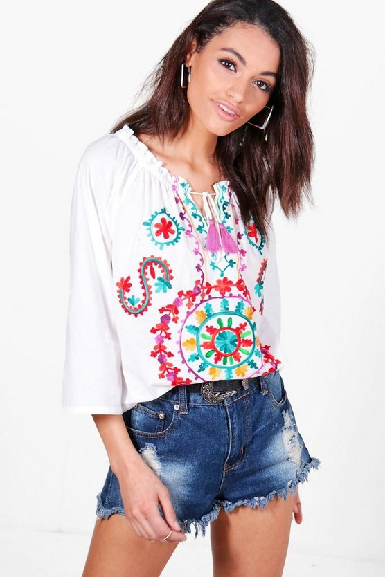 Boutique Bright Embroidered Smock Top