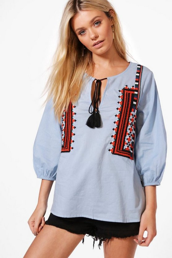 Bethany Boutique Embroidered Smock Top