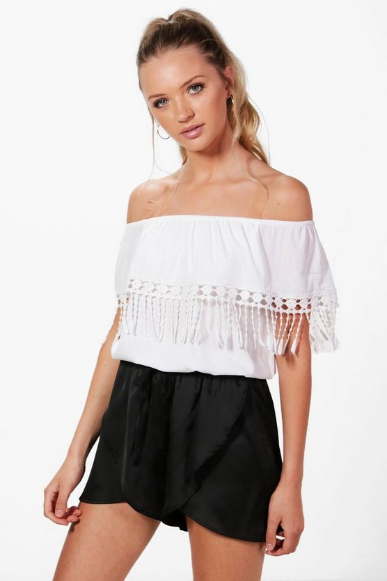 Charlotte Crochet Tassel Trim Off The Shoulder Top