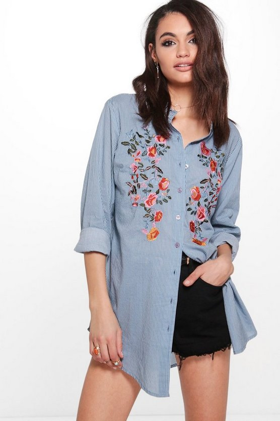 Boutique Embroidered Stripe Shirt