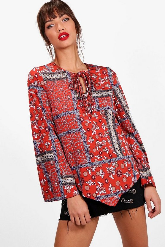 Louise Mixed Print Tassel Woven Top