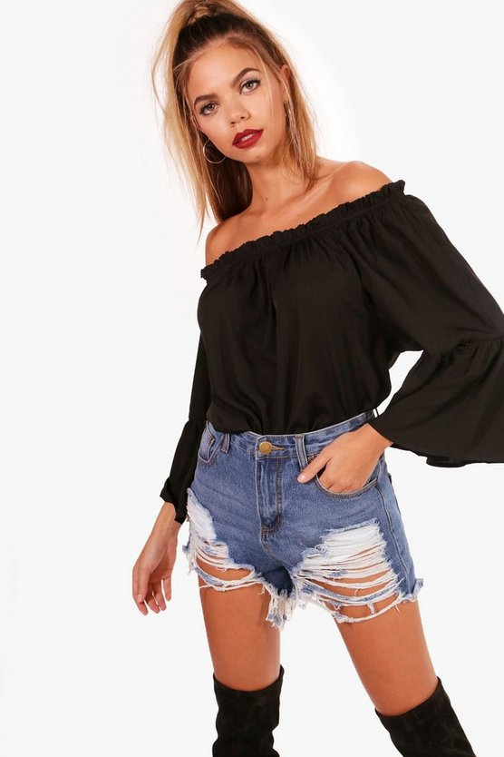Woven Off The Shoulder Ruffle Top