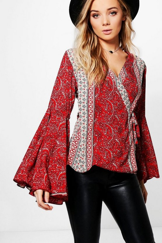 Isobel Mixed Print Wide Sleeve Woven Top