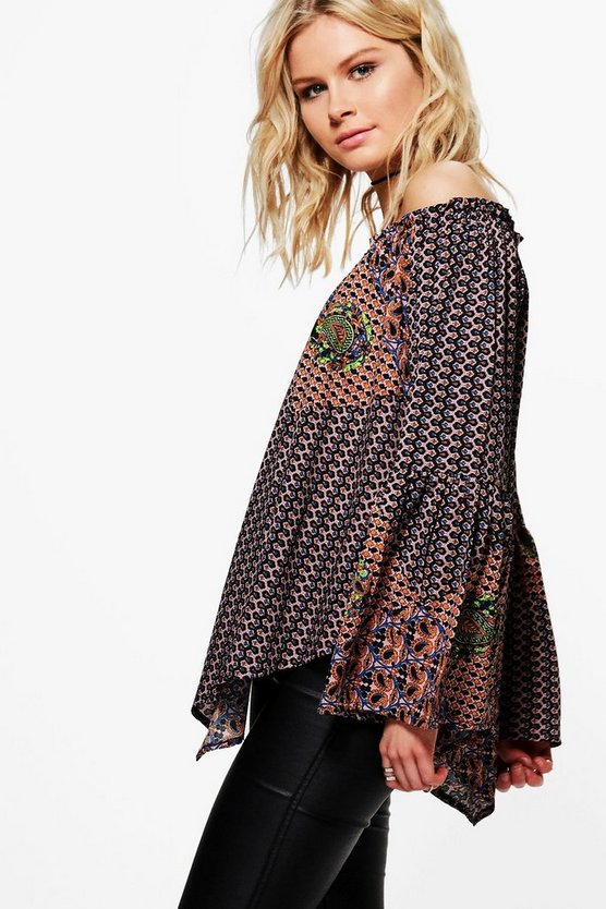 Mila Mixed Print Off The Shoulder Top