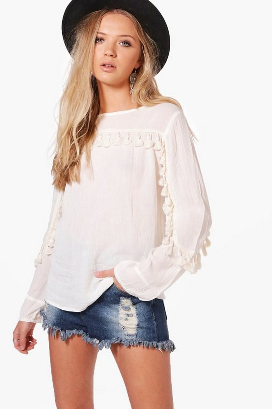 Martha Woven Tassel Trim Long Sleeve Top