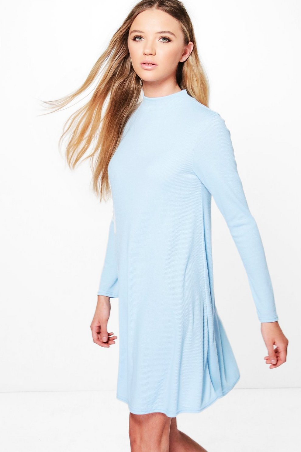 8a0fc11961e8 Diana Turtle Neck Rib Knit Swing Dress | Boohoo