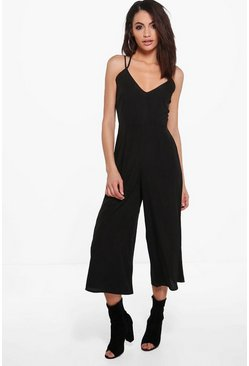Womens Black Strappy Culotte Jumpsuit