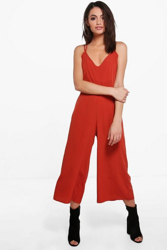 Womens Rust Strappy Culotte Jumpsuit