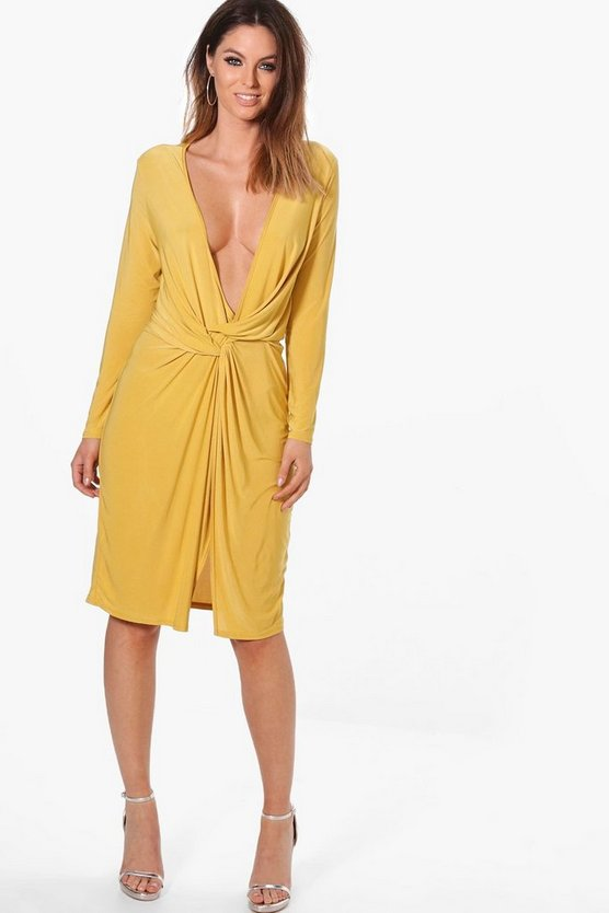 Womens Rachel Slinky Knot Front Midi Dress