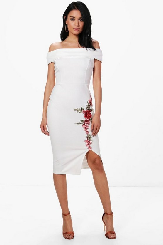 Hillary Bardot Applique Midi Bodycon Dress
