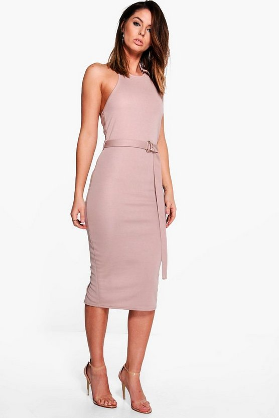 Erin Ring Detail Halter Neck Midi Dress