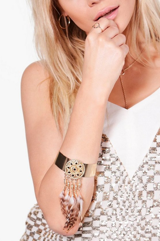 Amelia Feather Embellished Arm Cuff