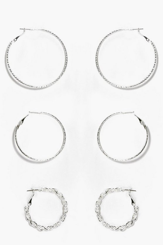 Mix Pack Textured Hoop Earrings