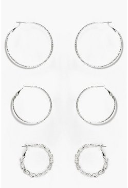 Womens Silver Mix Pack Textured Hoop Earrings
