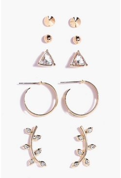 Lot de 5 boucles d'oreilles & clous, Or