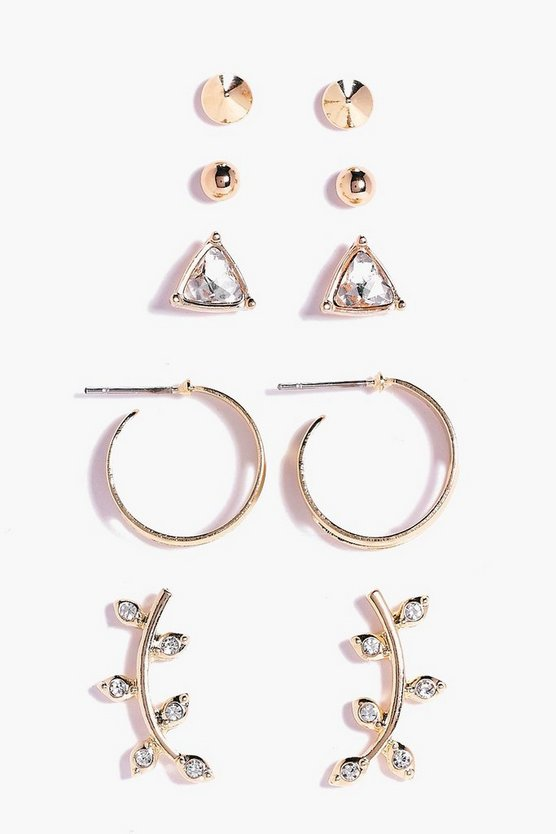 Womens Gold Ear Cuff & Stud 5 Earring Set