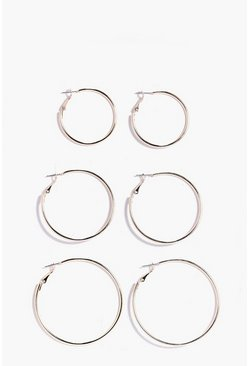 Gold Mixed Size Hoop Earring 3 Pack
