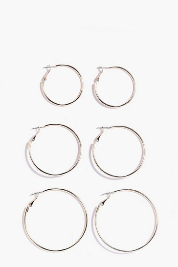 Womens Gold Mixed Size Hoop Earring 3 Pack