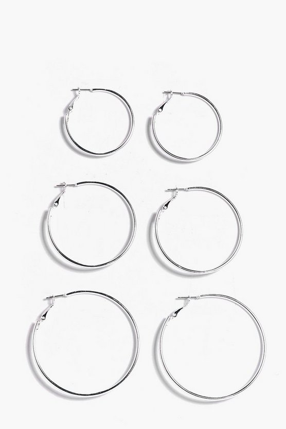 Silver Mixed Size Hoop Earring 3 Pack