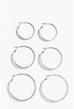 Womens Silver Mixed Size Hoop Earring 3 Pack