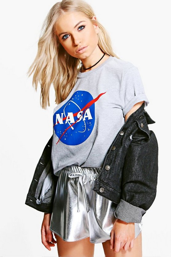 Womens Grey marl Nasa Slogan Licence T-Shirt