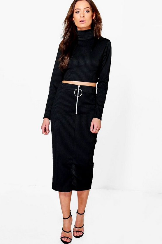 Womens Black Lucy Ring Zip Midi & Crop Co-Ord