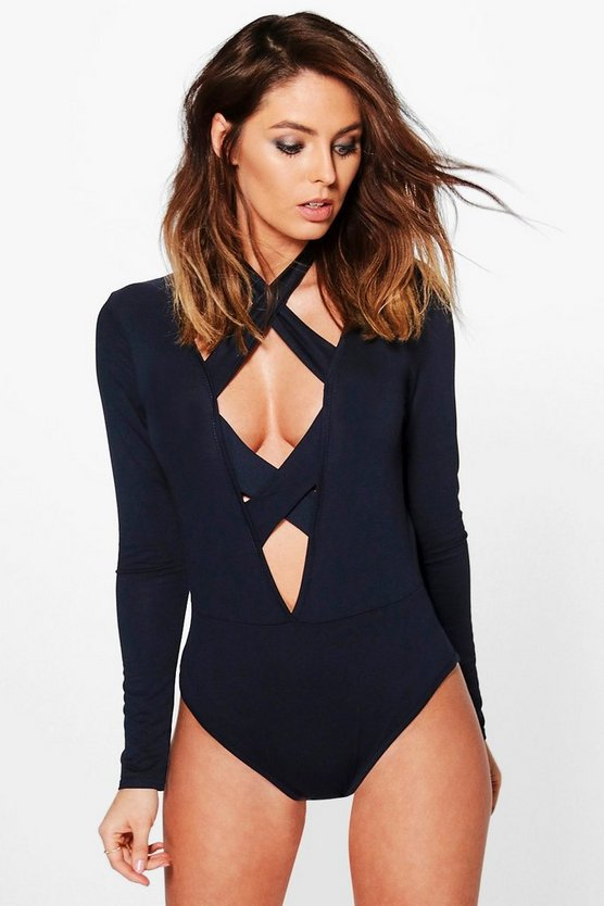 Navy Cross Strap Plunge Bodysuit
