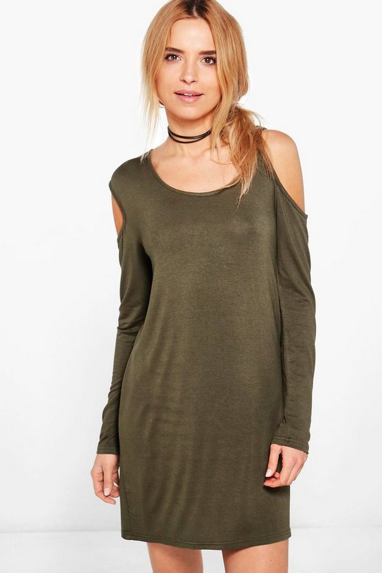 Olive D-Ring Detail Cold Shoulder Shift Dress