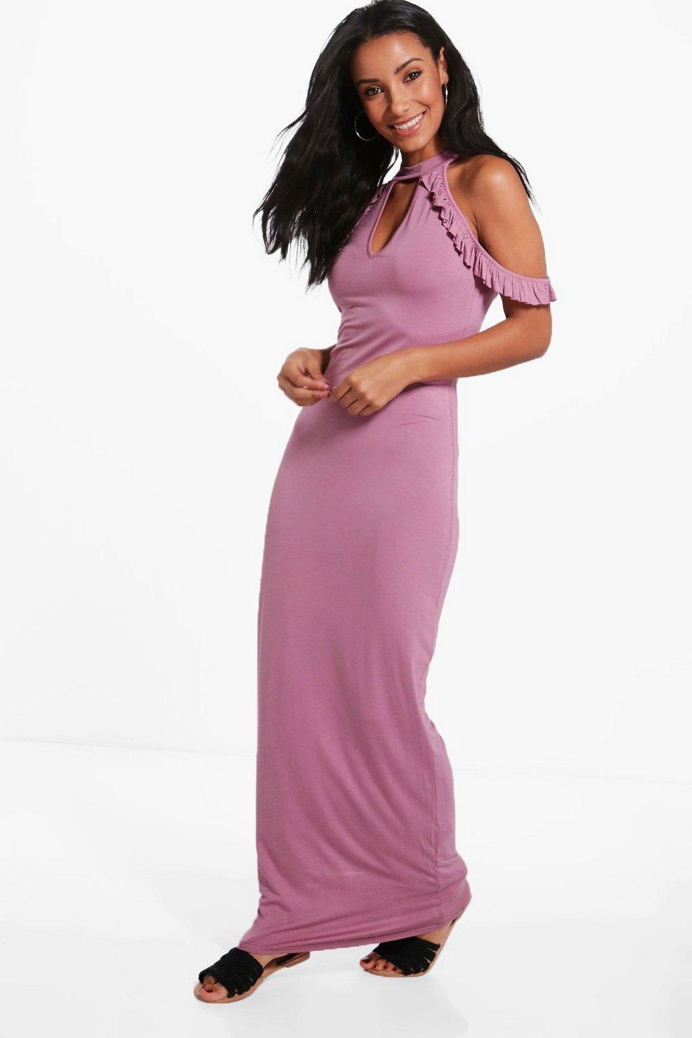 Penny Cold Shoulder High Neck Maxi Dress  2d9ea389d