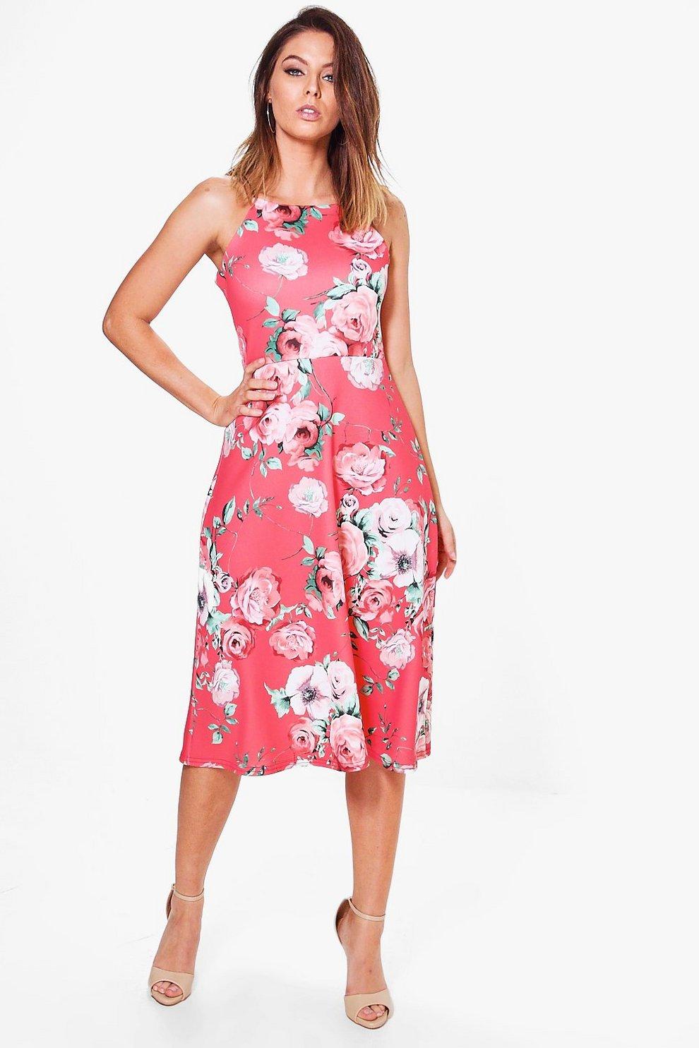 46e748a992b3 Jennie Floral Strappy Midi Skater Dress | Boohoo