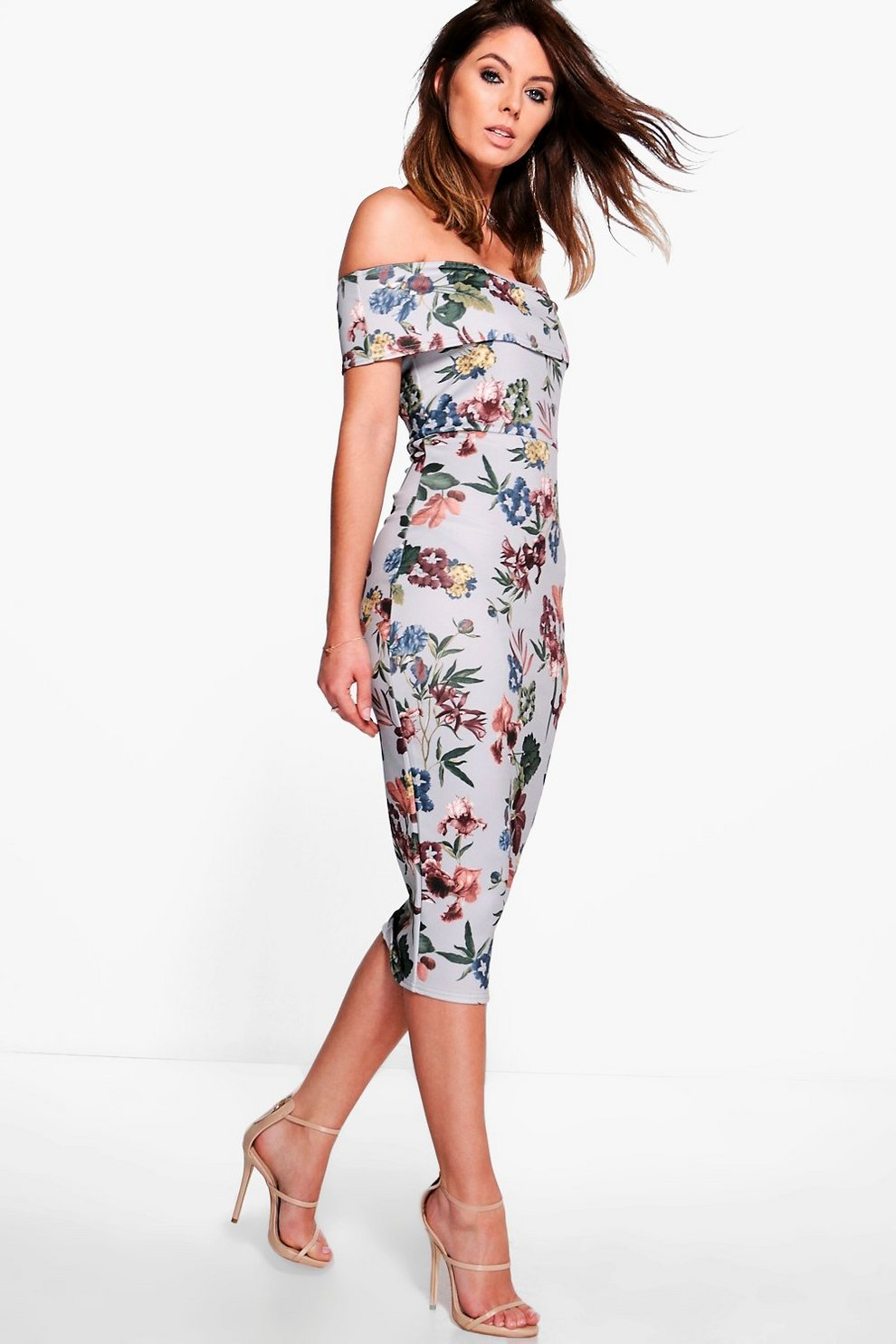 e2c9835480cd Lucie Off Shoulder Floral Midi Dress | Boohoo